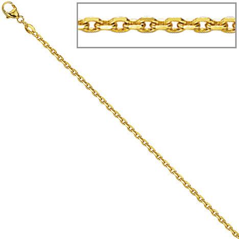 SIGO Ankerkette 333 Gelbgold diamantiert 1,2 mm 38 cm Gold Kette Halskette Goldkette