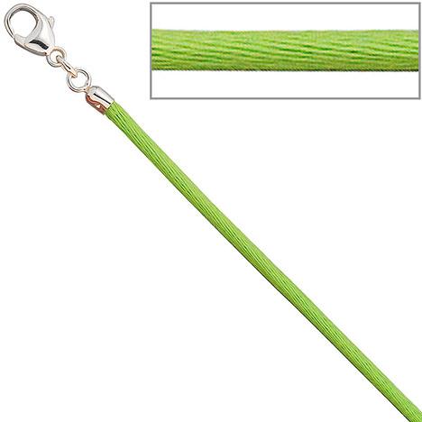 SIGO Collier Halskette Seide hellgrün 2,8 mm 42 cm, Verschluss 925 Silber Kette | Schmuck > Halsketten > Colliers | Silber | SIGO