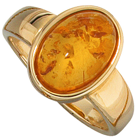 Damen Ring 585 Gold Gelbgold 1 Bernstein orange Bernsteinring Goldring