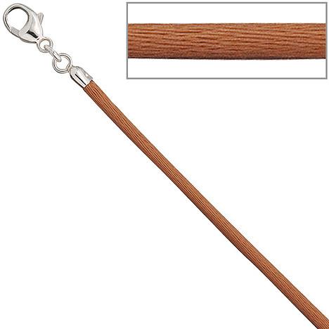 SIGO Collier Halskette Seide kupfer 2,8 mm 42 cm, Verschluss 925 Silber Kette | Schmuck > Halsketten > Colliers | Silber | SIGO