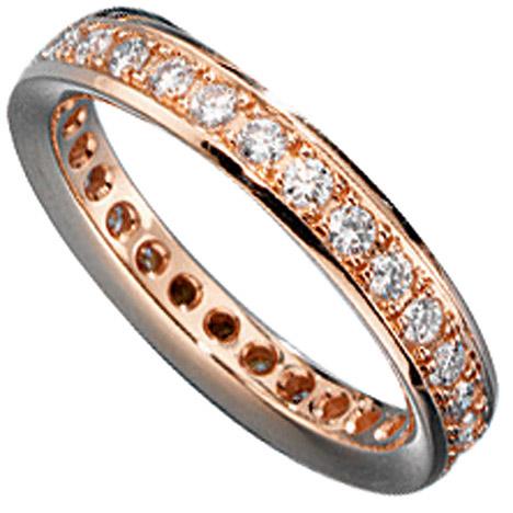SIGO Memory Ring 585 Gold Rotgold mit Diamanten Brillanten rundum Memoryring