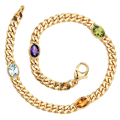 Armbaender für Frauen - SIGO Armband 585 Gold Gelbgold 19 cm Amethyst Aquamarin Citrin Peridot Goldarmband  - Onlineshop Goettgen