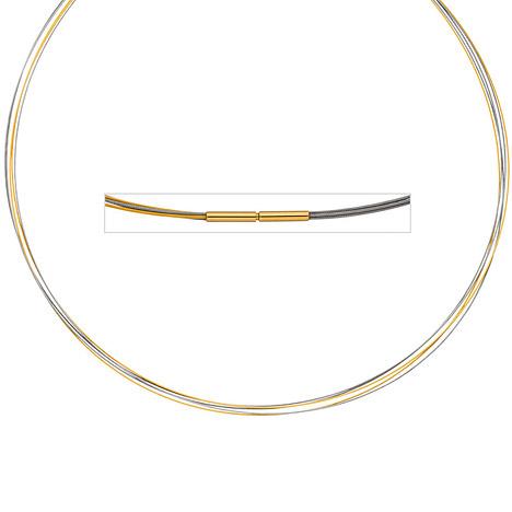efe6e59b1629 SIGO Halsreif 5-reihig bicolor vergoldet 42 cm Halskette Kette Silberkette  Statement