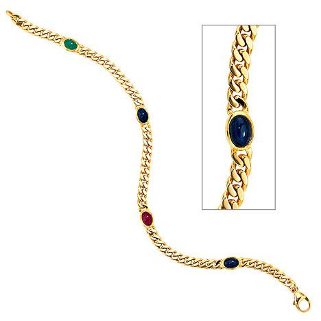 Armbaender für Frauen - SIGO Armband 585 Gold Gelbgold massiv 19 cm Safir Rubin Smaragd Cabochon Goldarmband  - Onlineshop Goettgen