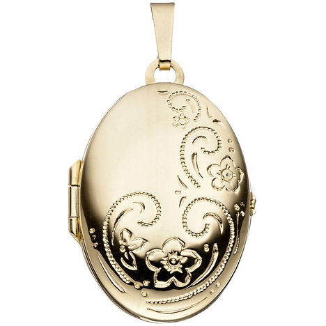 SIGO Medaillon oval für 2 Fotos 333 Gold Gelbgo...