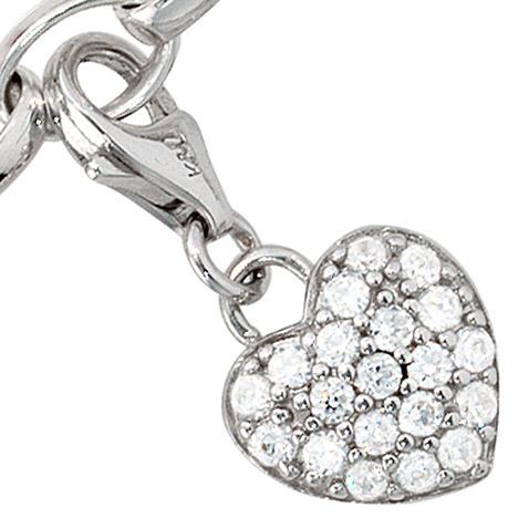 Armbaender für Frauen - SIGO Einhänger Charm Herz 925 Sterling Silber rhodiniert mit Zirkonia  - Onlineshop Goettgen