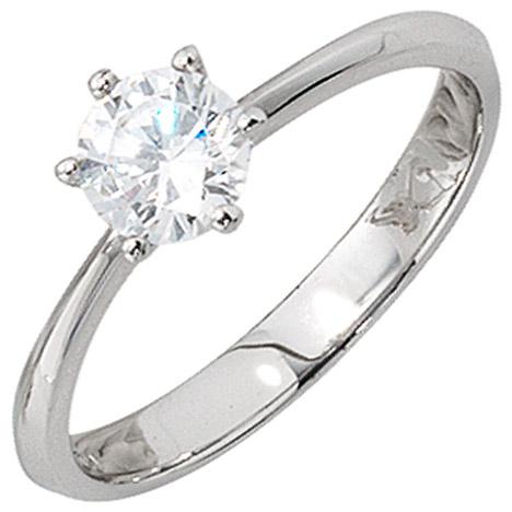SIGO Damen Ring 925 Sterling Silber rhodiniert 1 Zirkonia Silberring