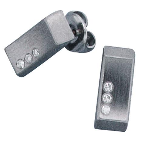 Ohrringe für Frauen - SIGO Ohrstecker eckig Edelstahl mattiert 6 Diamanten Brillanten Ohrringe  - Onlineshop Goettgen