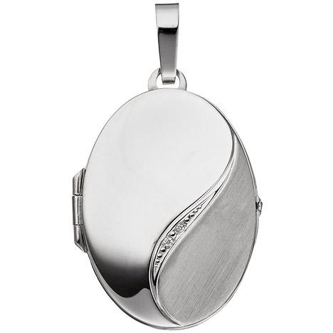 SIGO Medaillon oval 585 Gold Weißgold mattiert 2 Diamanten Anhänger zum Öffnen