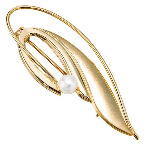 Broschen für Frauen - SIGO Brosche 585 Gold Gelbgold mattiert 1 Süßwasser Perle Perlenbrosche  - Onlineshop Goettgen