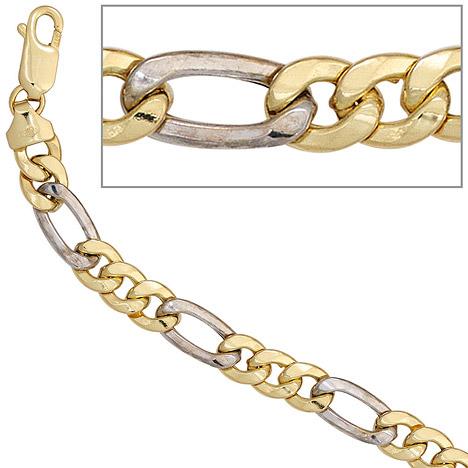 Armbaender für Frauen - SIGO Figaroarmband 333 Gold Gelbgold Weißgold bicolor 19 cm Armband Karabiner  - Onlineshop Goettgen