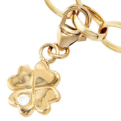 Armbaender für Frauen - SIGO Einhänger Charm Kleeblatt 333 Gold Gelbgold 1 Zirkonia Glücksbringer  - Onlineshop Goettgen