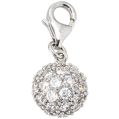 Armbaender für Frauen - SIGO Einhänger Charm Kugel 925 Sterling Silber rhodiniert mit Zirkonia  - Onlineshop Goettgen