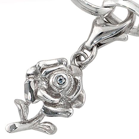 Armbaender für Frauen - SIGO Einhänger Charm Rose 925 Sterling Silber rhodiniert 1 Zirkonia  - Onlineshop Goettgen