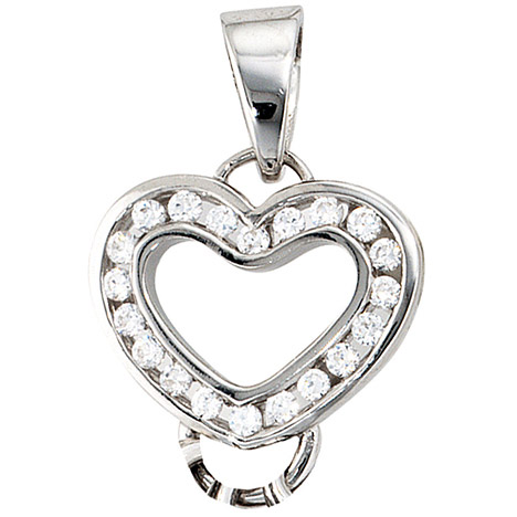 Armbaender für Frauen - SIGO Anhänger Herz Carrier Träger für Charms 925 Sterling Silber 20 Zirkonia  - Onlineshop Goettgen