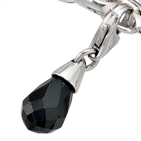 Armbaender für Frauen - SIGO Einhänger Charm Tropfen 925 Sterling Silber rhodiniert 1 Zirkonia schwarz  - Onlineshop Goettgen