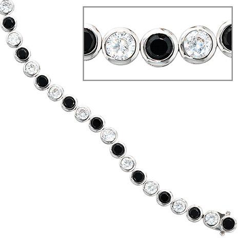 Armbaender für Frauen - SIGO Armband 925 Silber 19 cm mit Zirkonia schwarz weiß Silberarmband Kastenschloss  - Onlineshop Goettgen