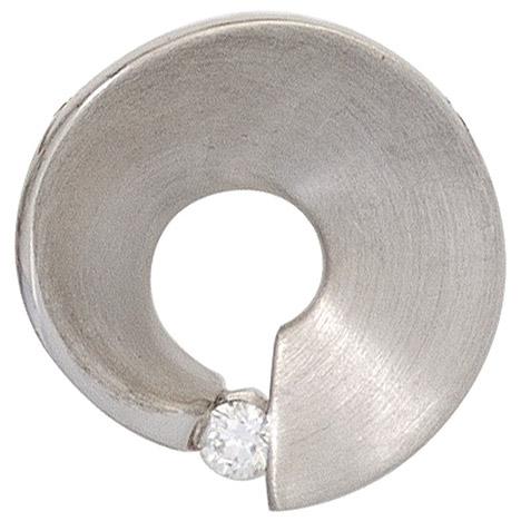 SIGO Anhänger 585 Gold Weißgold matt 1 Diamant Brillant 0,07ct. Weißgoldanhänger