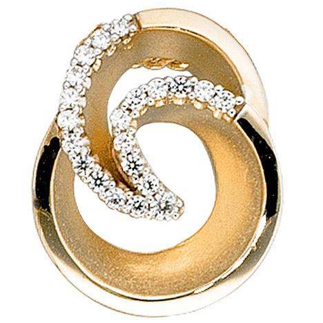 SIGO Anhänger 585 Gold Gelbgold matt 21 Diamanten Brillanten Diamantanhänger