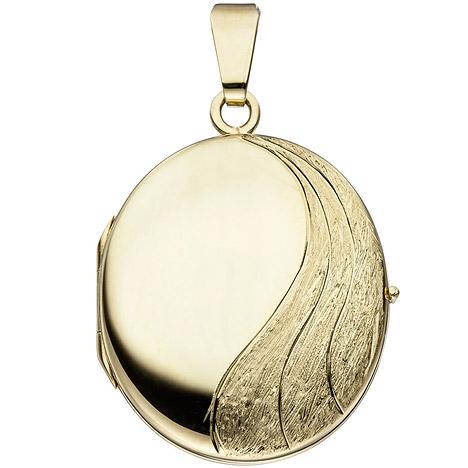 SIGO Medaillon oval 585 Gold Gelbgold mattiert Anhänger zum Öffnen