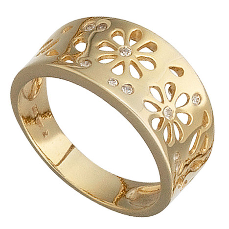 SIGO Damen Ring Blumen 585 Gold Gelbgold 10 Diamanten 0,09ct. Goldring Blumenmuster