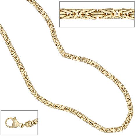 SIGO Königskette 585 Gelbgold 3,2 mm 42 cm Gold Kette Halskette Goldkette Karabiner