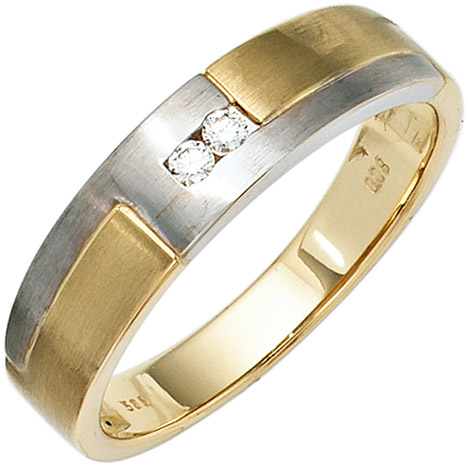 SIGO Herren Ring 585 Gold Gelbgold Weißgold mattiert 2 Diamanten Brillanten Goldring