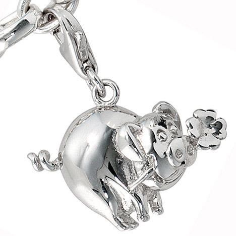 Armbaender für Frauen - SIGO Einhänger Charm Glücksschwein 925 Sterling Silber Glücksbringer  - Onlineshop Goettgen