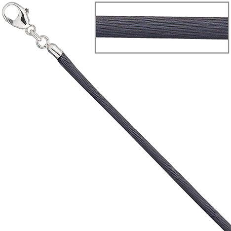 SIGO Collier Halskette Seide grau 2,8 mm 42 cm,...