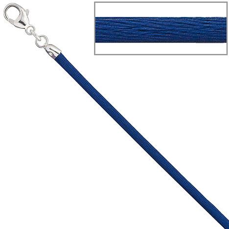 SIGO Collier Halskette Seide blau 2,8 mm 42 cm,...