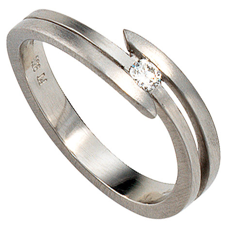 Damen Ring 950 Platin matt 1 Diamant Brillant 0,09ct. Platinring