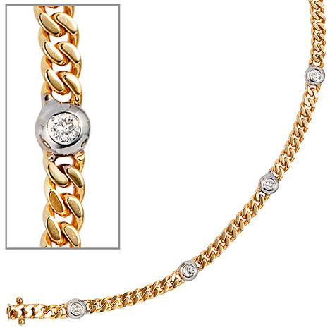 Armbaender für Frauen - SIGO Armband 585 Gold Gelbgold Weißgold bicolor 6 Diamanten Brillanten 19 cm  - Onlineshop Goettgen