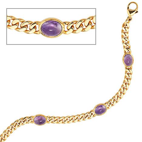 Armbaender für Frauen - SIGO Armband 585 Gold Gelbgold 19 cm 4 Amethyst Chabochons lila violett Goldarmband  - Onlineshop Goettgen