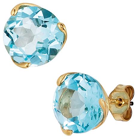 Ohrringe für Frauen - SIGO Ohrstecker rund 585 Gold Gelbgold 2 Blautopase hellblau blau Ohrringe  - Onlineshop Goettgen