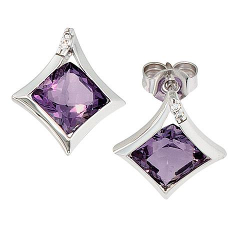 Ohrringe für Frauen - SIGO Ohrstecker 585 Gold Weißgold 4 Diamanten 2 Amethyst lila violett Ohrringe  - Onlineshop Goettgen
