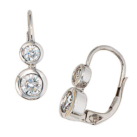 Ohrringe für Frauen - SIGO Boutons 333 Gold Weißgold 4 Zirkonia Ohrringe Ohrhänger Goldohrringe  - Onlineshop Goettgen