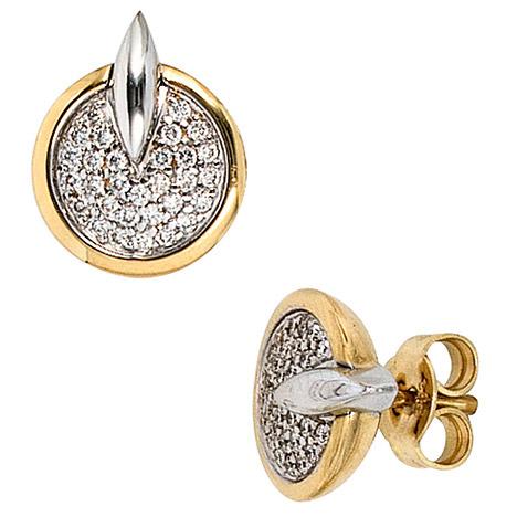 Ohrringe für Frauen - SIGO Ohrstecker 585 Gold Gelbgold Weißgold bicolor 60 Diamanten Brillanten Ohrringe  - Onlineshop Goettgen