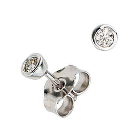 Ohrringe für Frauen - SIGO Ohrstecker rund 585 Gold Weißgold 2 Diamanten Brillanten 0,10ct. Ohrringe  - Onlineshop Goettgen