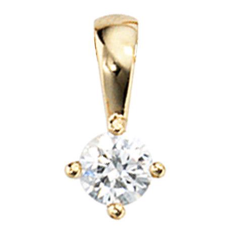 SIGO Anhänger 585 Gold Gelbgold 1 Diamant Brillant 0,15ct. Solitär Diamantanhänger