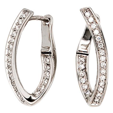 Ohrringe für Frauen - SIGO Creolen 585 Gold Weißgold 42 Diamanten Brillanten Ohrringe Weißgoldcreolen  - Onlineshop Goettgen