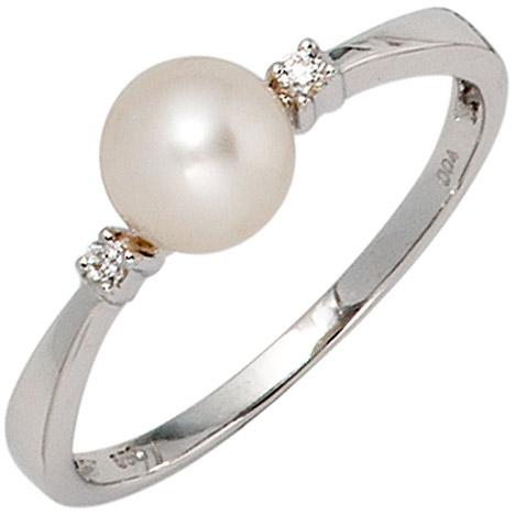 SIGO Damen Ring 585 Gold Weißgold 1 Süßwasser Perle 2 Diamanten Brillanten Perlenring | Schmuck > Ringe > Diamantringe | Silber - Gold - Weiß | SIGO