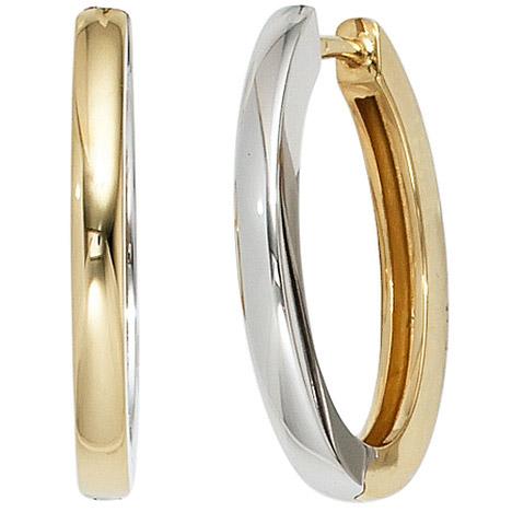 Ohrringe für Frauen - SIGO Creolen oval 585 Gold Gelbgold Weißgold bicolor Ohrringe Goldcreolen  - Onlineshop Goettgen