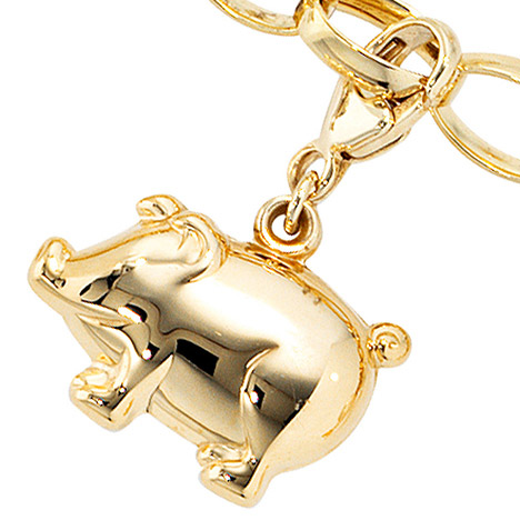 Armbaender für Frauen - SIGO Einhänger Charm Schweinchen Schwein 333 Gold Gelbgold Glücksbringer  - Onlineshop Goettgen