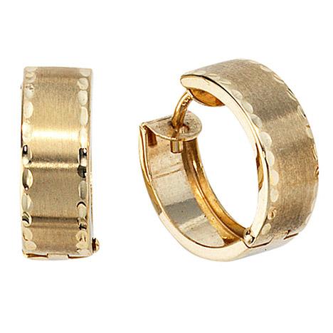 Ohrringe für Frauen - SIGO Creolen rund 333 Gold Gelbgold mattiert Ohrringe Goldohrringe Goldcreolen  - Onlineshop Goettgen