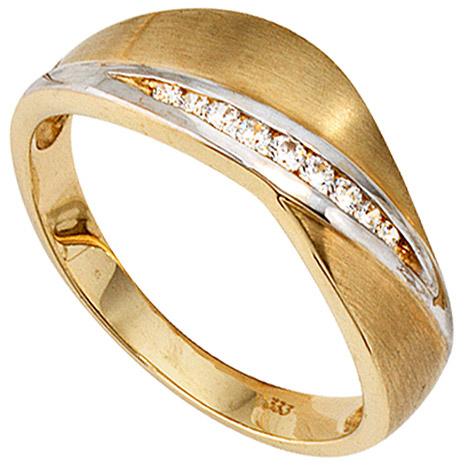 SIGO Damen Ring 333 Gold Gelbgold bicolor mattiert 9 Zirkonia Goldring   Schmuck > Ringe   Silber - Mehrfarbigen - Multicolor - Gold - Weiß   SIGO