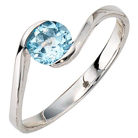 SIGO Damen Ring 333 Gold Weißgold 1 Blautopas hellblau blau Goldring | Schmuck > Ringe | Silber - Gold - Blau | SIGO
