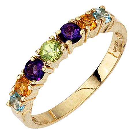 SIGO Damen Ring 333 Gold Gelbgold 2 Amethyste 2 Citrine 1 Peridot 2 Blautopase