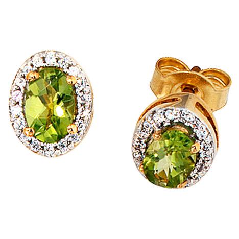 Ohrringe für Frauen - SIGO Ohrstecker oval 585 Gelbgold 1 Diamant Brillant 2 Peridote grün Ohrringe  - Onlineshop Goettgen