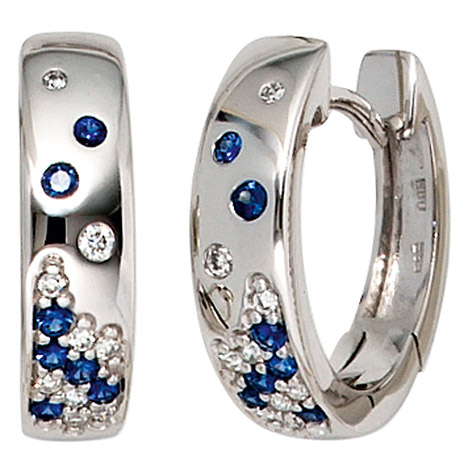 Ohrringe für Frauen - SIGO Creolen 585 Gold Weißgold 18 Diamanten Brillanten 14 Safire blau Ohrringe  - Onlineshop Goettgen