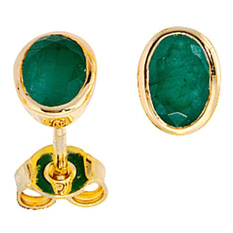 Ohrringe für Frauen - SIGO Ohrstecker oval 585 Gold Gelbgold 2 Smaragde grün Ohrringe Goldohrstecker  - Onlineshop Goettgen